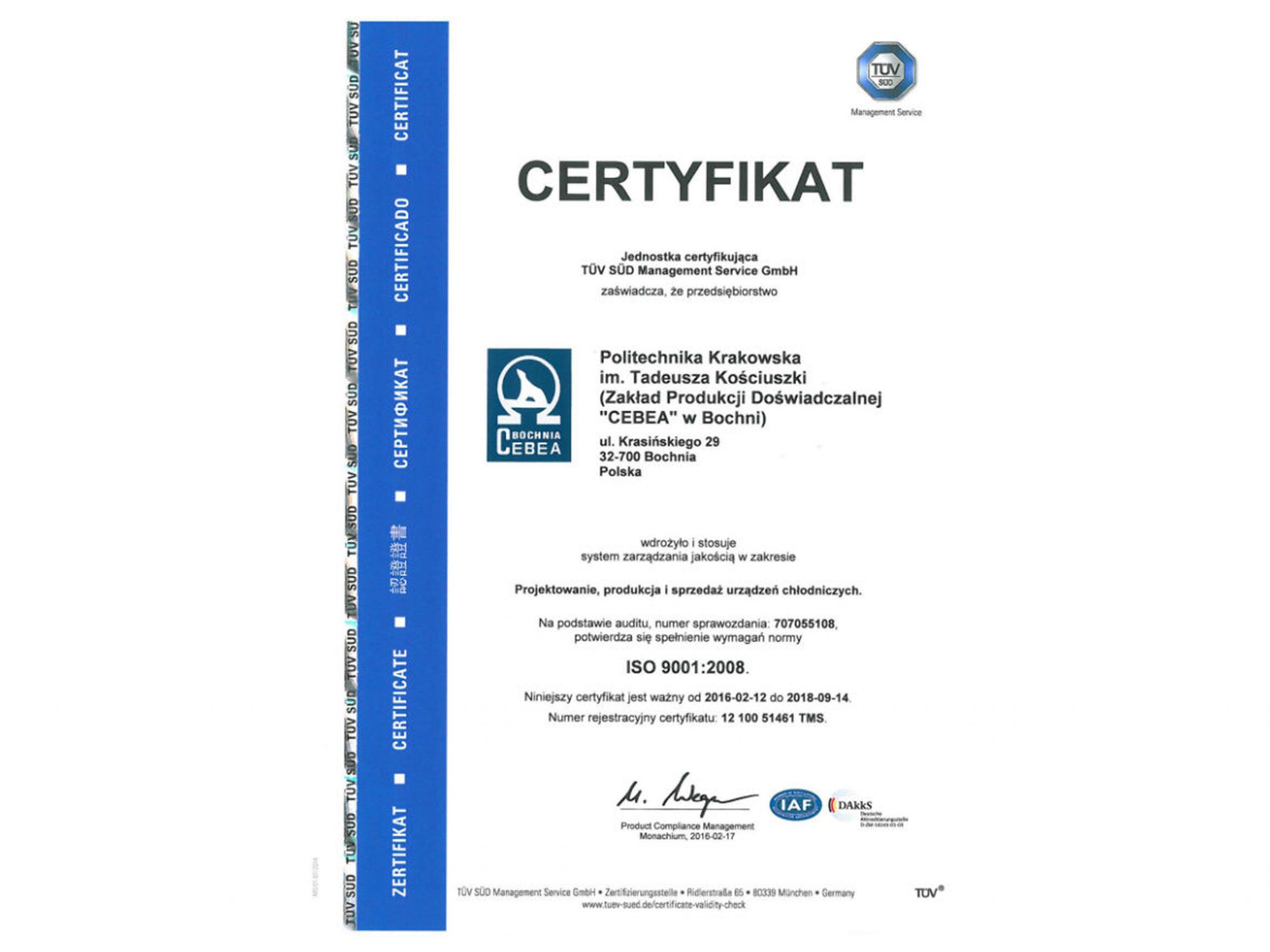 Certyfikat jakości ISO 9001:2008
