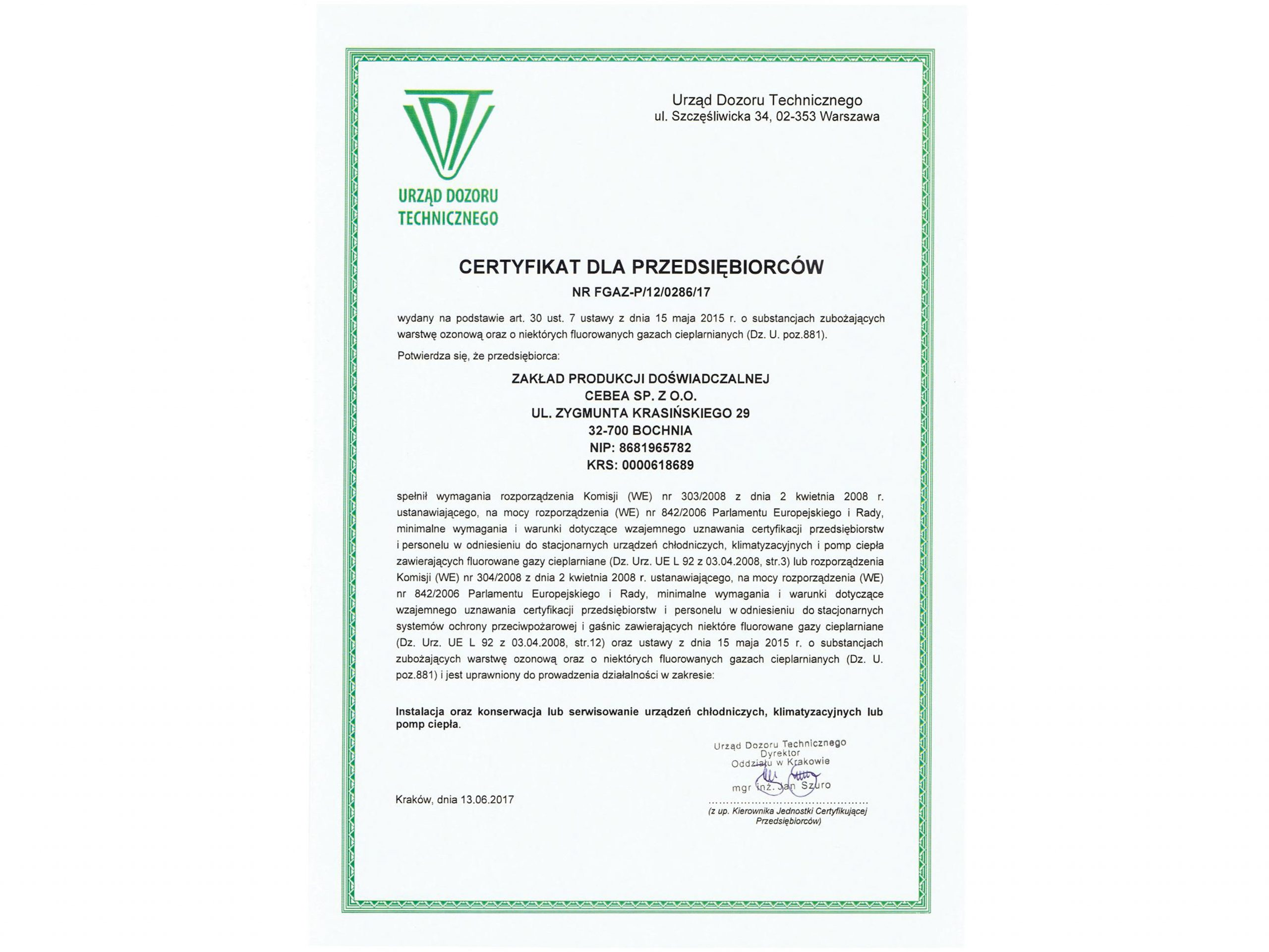 Certyfikat UDT – FGAZ
