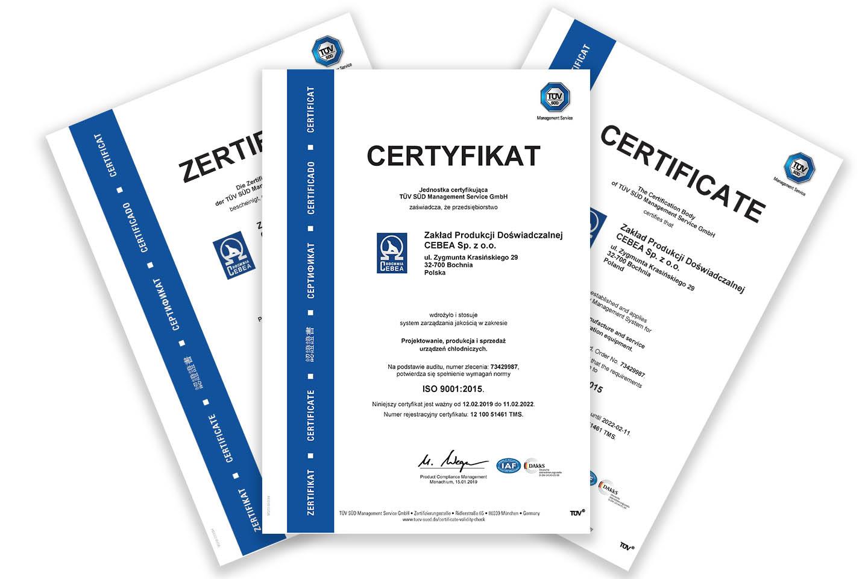 Certyfikat jakości ISO 9001:2015