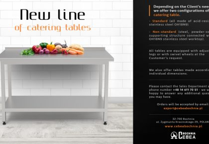 New line of catering tables